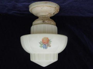 30's art deco flowered glass shade, original fixture