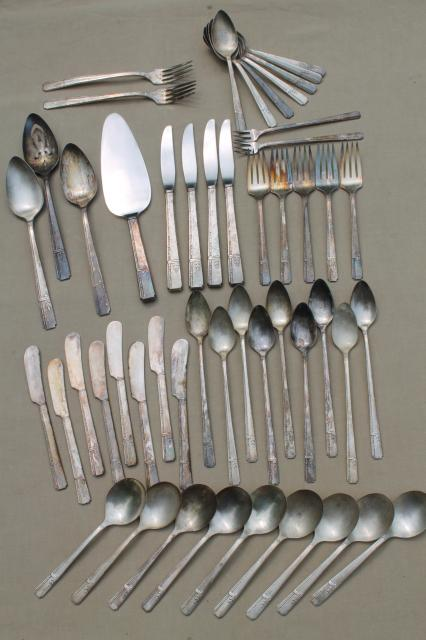 30s art deco vintage silverware prestige silver plate