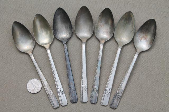 30s art deco vintage silverware prestige silver plate flatware lot oneida grenoble
