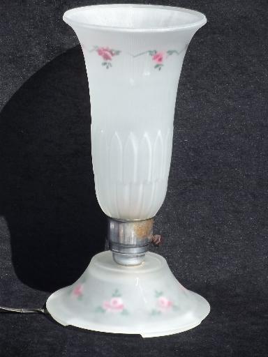30s Art Deco Vintage Torchiere Shade Boudoir Lamp Painted