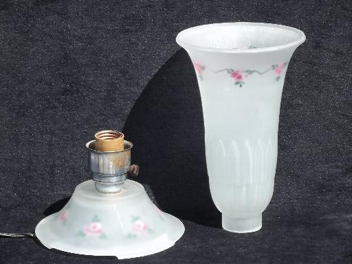 30s art deco vintage torchiere shade boudoir lamp, painted satin glass