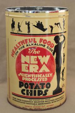 30s vintage New Era potato chips can, old advertising tin w/ art deco silhouettes
