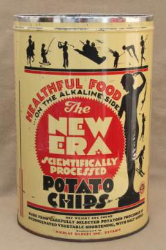 30s vintage New Era potato chips can, old advertising tin w/ art deco silhouettes