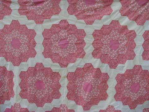 30s vintage antique patchwork quilt top, candy pink cotton prints, huge!