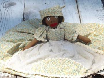 30s vintage black mammy rag doll, cotton feedsack dress, button eyes