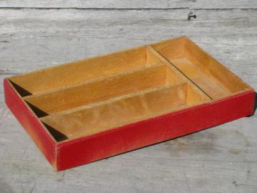 30s vintage flatware / kitchen utensil tray, old wood knife box, red paint