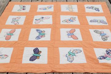30s vintage make do quilt, depression era sugar sacks & feedsack fabric applique butterflies
