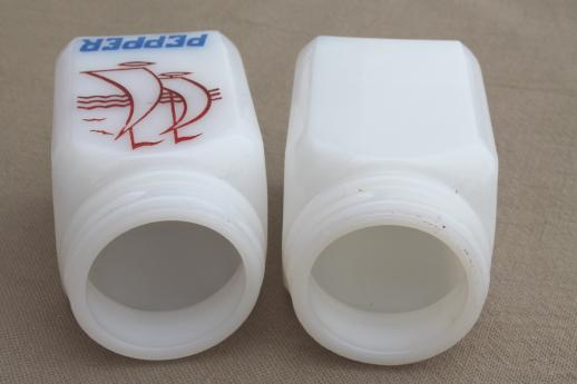 30s vintage milk glass S&P shakers spice jars, pepper jar w/ sailboat