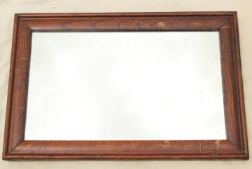30s vintage oak framed plain glass mirror, industrial office furniture w/ rustic patina
