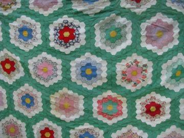 30s vintage patchwork quilt top, jadite green/cotton prints, huge!
