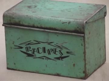 30s vintage recipe card box, jadite green metal box w/ Monarch flour recipes
