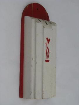 30s vintage wood wall rack knife block, wooden holder for kitchen knives