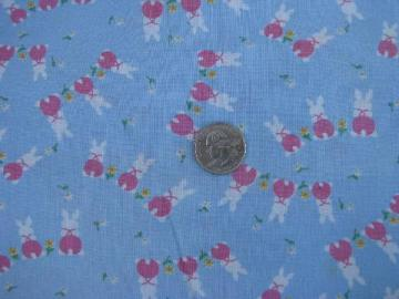 36'' wide vintage cotton fabric, baby bunnies / spring flowers for Easter