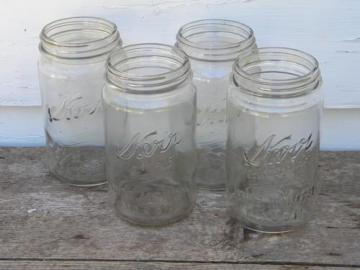 4 vintage 1 qt Kerr Self-Sealing Mason wide mouth canning jars, lot #2