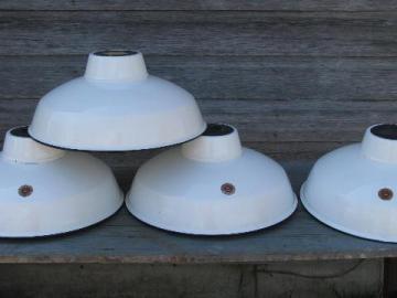 4 vintage Appleton industrial white enamel barn or shop light shades w/black rims