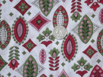 4 yds 40s 50s vintage cotton fabric, retro print in red, green, pink