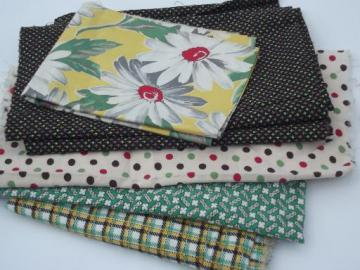 "4 yds assorted vintage print cotton fabric, 36"" quilting prints lot"