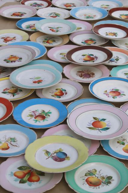 40 Antique China Plates W Hand Painted Fruit Shabby