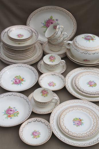 40s 50s vintage American Home dinnerware dishes set Carmen cottage floral china & 40s 50s vintage American Home dinnerware dishes set Carmen cottage ...