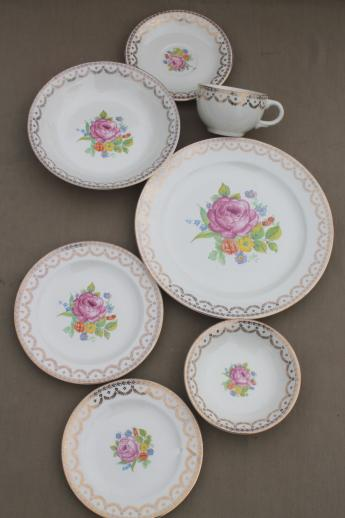 40s 50s vintage American Home dinnerware dishes set Carmen cottage floral china & 50s vintage American Home dinnerware dishes set Carmen cottage ...