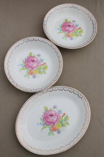 40s 50s vintage American Home dinnerware dishes set, Carmen cottage floral china