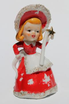 40s 50s vintage Christmas bell china figurine, girl w/ spaghetti fur trimmed red hood