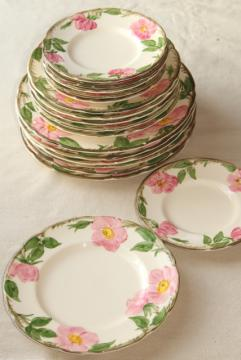 40s 50s vintage Franciscan pottery Desert Rose china, shabby well loved everyday plates