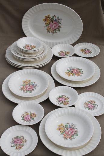 40s 50s vintage Knowles china dinnerware dishes set w/ pink rose yellow tulip floral & 40s 50s vintage Knowles china dinnerware dishes set w/ pink rose ...
