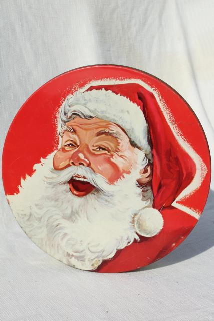 40s 50s vintage Santa Claus tin - Christmas cookies, candy or fruitcake tin