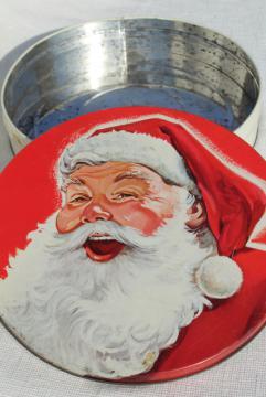40s 50s vintage Santa Claus tin - Christmas cookies, candy or fruitcake tin
