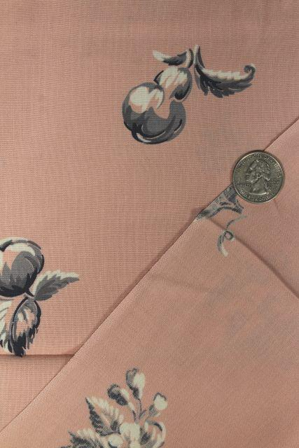 40s 50s vintage blush pink print rayon fabric, retro dress or blouse material