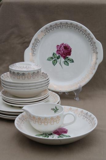 40s 50s Vintage Briar Rose Or Moss Roses China Dishes Set