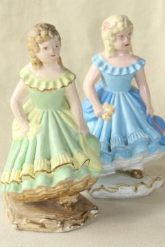 40s 50s vintage chalkware figures / doorstops, girls w/ ringlet curls in green & blue dresses