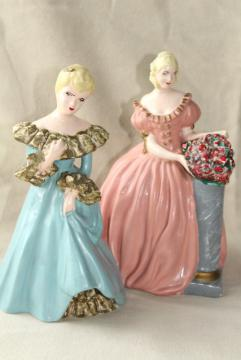 40s 50s vintage chalkware figures / doorstops, southern belles ladies in pink & blue dresses