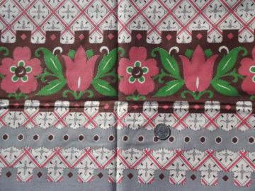 40s 50s vintage cotton fabric, border print pink tulips on grey / brown