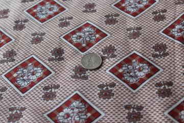 40s 50s vintage cotton fabric w/ daisy print rust & tan, housedress or shirtwaist material
