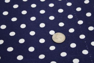 40s 50s vintage cotton feed sack fabric, polka dots print navy blue & white