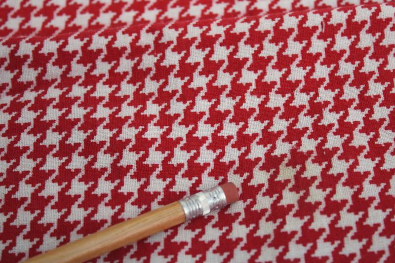 40s 50s vintage cotton feed sack fabric, red & white houndstooth print