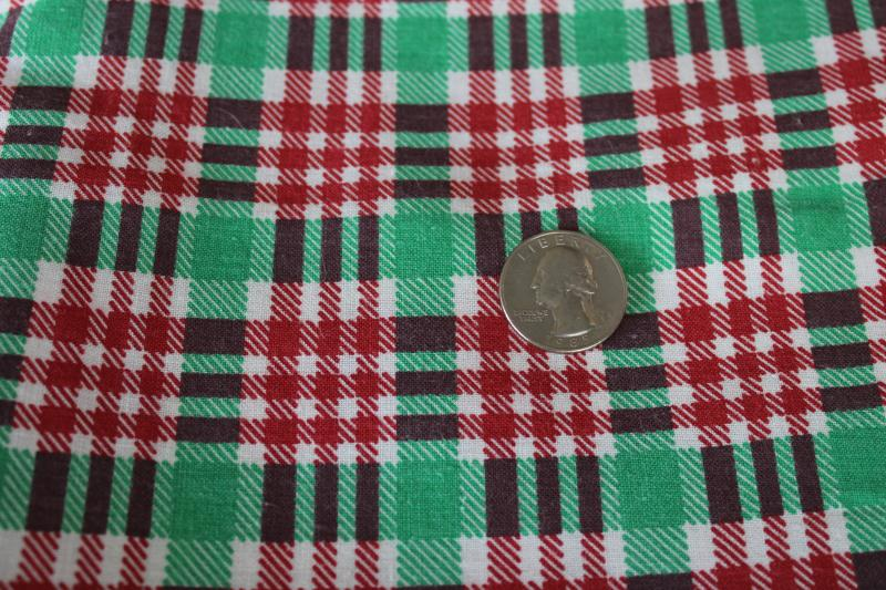 40s 50s vintage cotton feedsack fabric, red & green checked plaid print