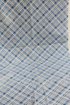 40s 50s vintage cotton feedsack fabric, sky blue & white plaid print