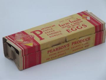 40s 50s vintage egg carton w/ great old print graphics, Farm Fresh Eggs