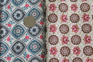 40s 50s vintage floral print cotton fabric, roses in pink / brown & blue / grey