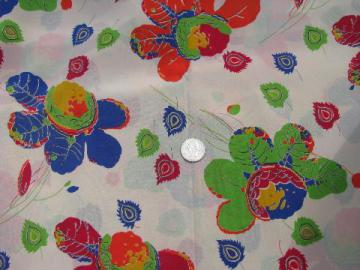 40s - 50s vintage floral print silk or rayon fabric, bright flowers on ivory