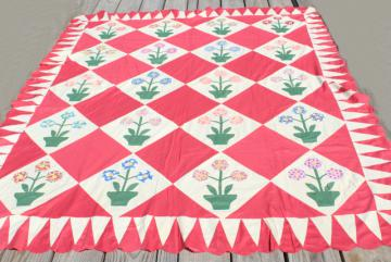 40s 50s vintage flower garden applique quilt top, hand stitched cotton flowers in planter pots