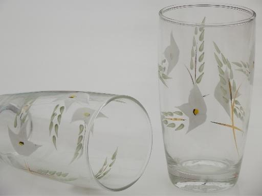 40s 50s vintage hand painted glasses, flowered glass tumblers set