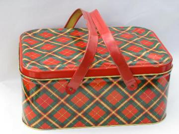 40s - 50s vintage metal litho picnic basket hamper tin, red plaid print