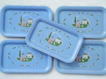 40s 50s vintage metal trays w/ pretty shepherdess print, cottage style