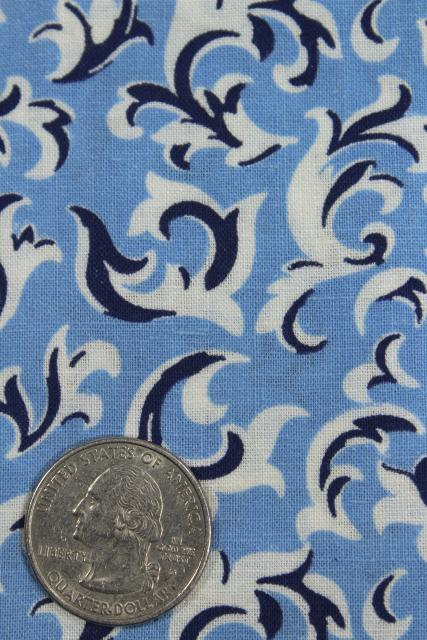 40s 50s vintage navy / sky blue print cotton fabric, 4 yards 36 wide