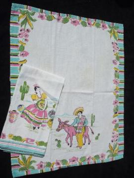 40s 50s vintage old Mexico kitchen towels, Mexican theme in pink and aqua