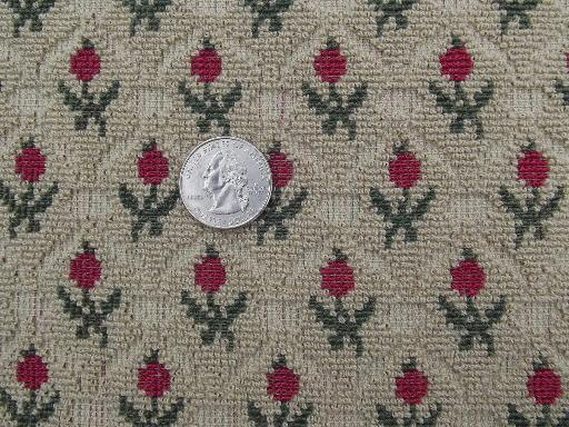 40s 50s vintage plush tapestry fabric upholstery sample, Scots thistle